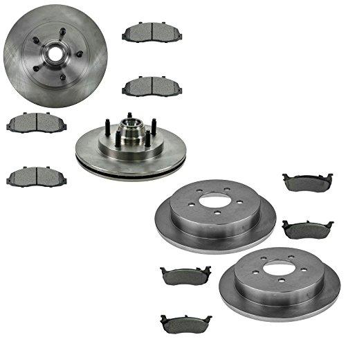 (Premium Posi Metallic Brake Pad & Rotor Kit Front & Rear for Ford)