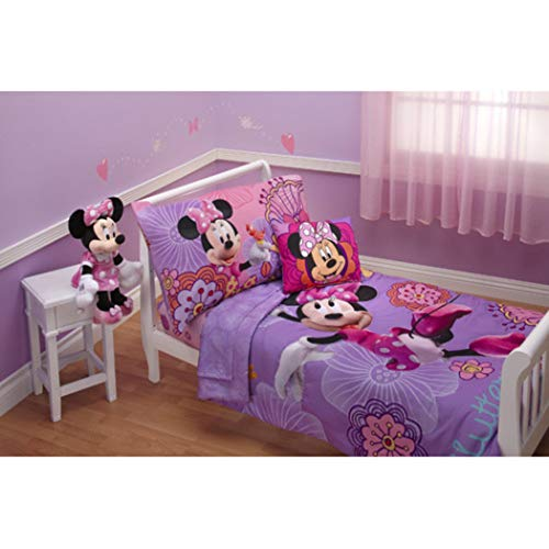 4 Piece Kids Girls Purple Pink Minnie Mouse Toddler Bed Set, Blue Red Disney Bedding Bird Bow Tie Pattern Floral Motif Theme Comforter Sheets Fitted Sheet Bedroom Children Bed Child, Polyester