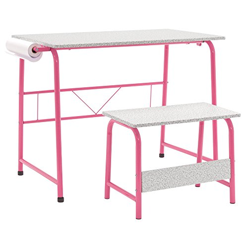 Offex Home Office Project Center, Kids Craft Table with Bench - Pink/Spatter Gray (Roll Off Levelers)