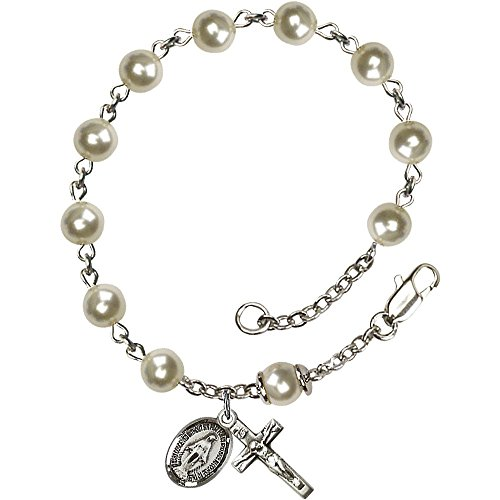 (Bonyak Jewelry Sterling Silver Rosary Bracelet 6mm Cream Rose Pearl Over Swarovski beads Crucifix sz 5/8 x 1/4.)