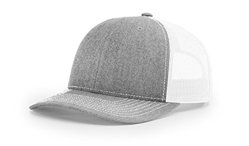 Richardson 112 Heather Grey/ White Mesh Back Trucker Cap Snapback Hat