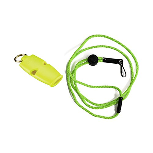 Fox 40 Micro Whistle - Fox 40 Micro Safety Whistle with Breakaway Lanyard Neon