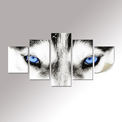 Black and White Wolf Dog With Blue Eyes Poster Animal Face