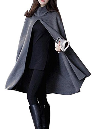 (Clothink Women Gray Wool Hooded Split Front Poncho Cape)
