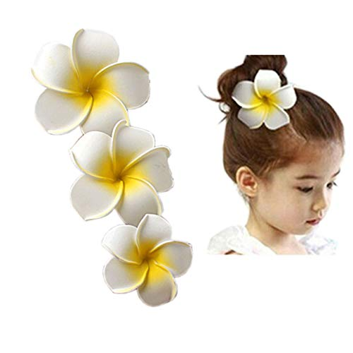 Women Flower Foam Hair Clip Hawaiian Plumeria Artificial Flower for Beach Wedding 3 Pack (White) (Flower Plumeria White)