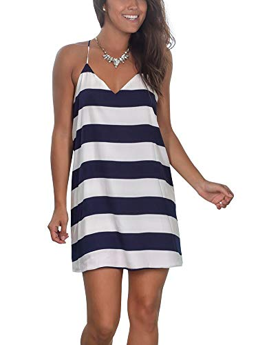 Womens Summer Sexy V Neck Mini Dress Spaghetti Straps Short Dress Loose Beach Sundresses Stripe Mediun