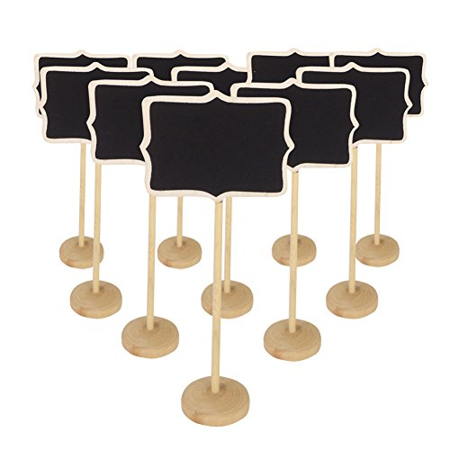 KIWISUNNY Irregular Mini Blackboard Chalkboard Wooden Message Board Holder with stand for Party wedding table Number/place card setting decoration,set of 10 Mini Heart Place Card Holder