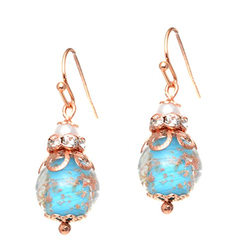 (Just Give Me Jewels Genuine Venice Murano Sommerso Aventurina Glass Bead and Rhinestone Dangle Earrings - Aqua)
