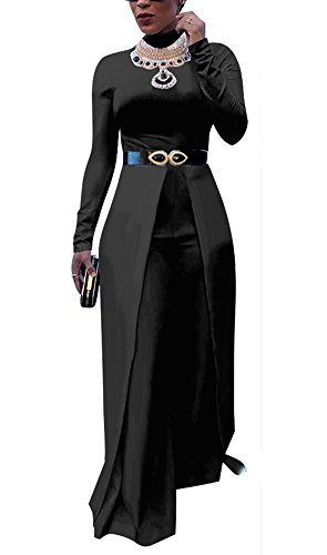 Dreamparis Womens Wide Leg Jumpsuits Romper Long Sleeve High Waisted Flare Palazzo Pants Suit Black M ()