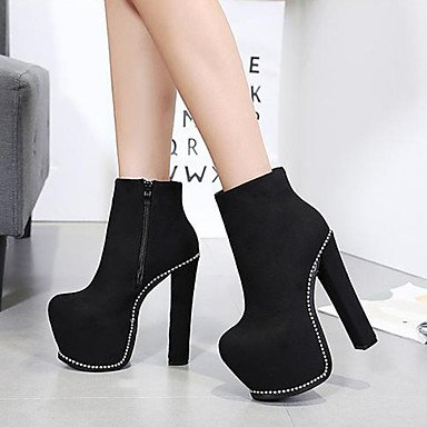 Fall Black amp; Pump Black Wedding Party Women's Novelty Zipper Spring Basic Winter Shoes For Heel Evening Leatherette Chunky Comfort Boots UwnHnWt1x