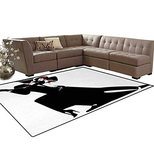 Girls,Rug,Man and Woman Partners Romantic Dance Tango Waltz Love Valentines Rhythm Music Art,Home Decor Floor Carpet,Black White,5'x6' by smallbeefly