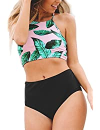 Seaselfie Women's Leaves Printing High-Waisted Halter Tankini Beach Bikini