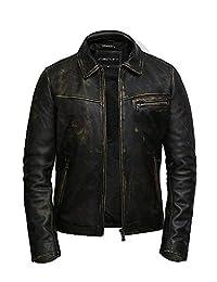Brandslock Mens Genuine Leather Jacket Biker Superior Cow Hide