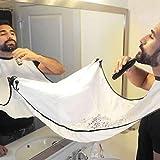 Tablier de toilettage de rasage de barbe, coupe de cheveux de bavette coupe cape w / ventouses pour homme salon à la maison (White)