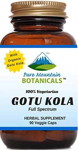 Organic Gotu Kola Capsules  90 Kosher Vegetarian Caps - Now with 400mg Nature's Organic Gotu Kola Herb Powder  Highest Quality Gotu Kola Supplement