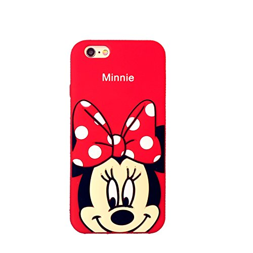 """Red Minnie Mouse Soft Silicone Case for Apple iPhone 6 / iPhone 6s Regular Size 4.7"""" Screen Disney Cartoon Shockproof Protective Cute Lovely High Fashion Girly Gift Kids Teens Little Girls Women"""