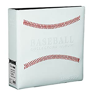 """Ultra Pro White Stitched Baseball Card Collectors 3-Ringed Album With 3"""" D-Rings"""