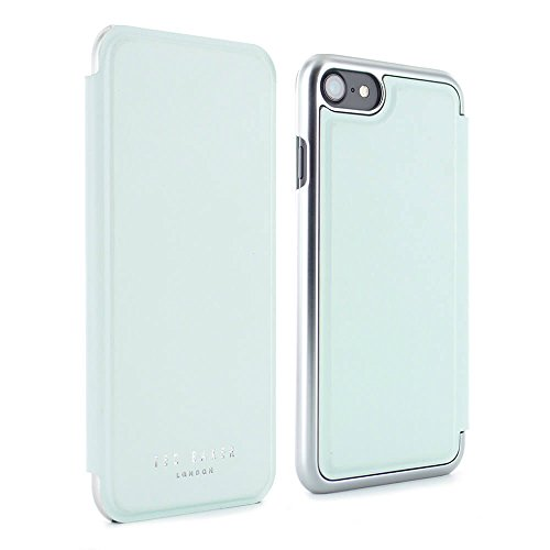 Official Ted Baker® AW16 SHANNON Mirror Folio Style Case for Apple iPhone 8 / 7 - Fashion Branded super-soft leather effect Mirror Case for Professional Women - Pale Green/Silver
