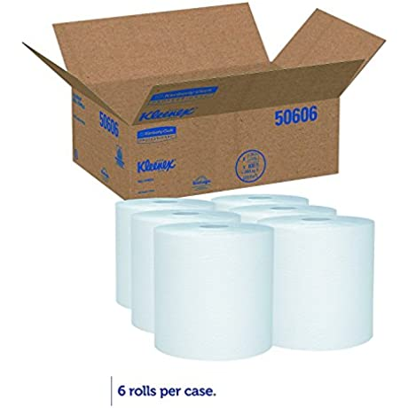 Kleenex 50606 Hard Roll Towels 8 X 600ft 1 3 4 Core Dia White Case Of 6 Rolls 4 PACK