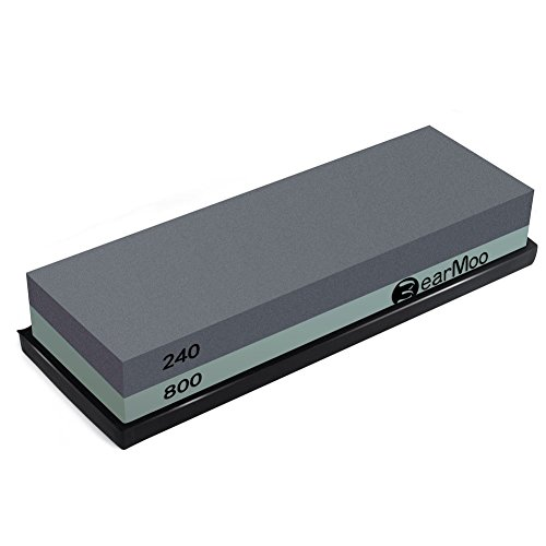BearMoo Whetstone 2-IN-1 Sharpening Stone 240/800 Grit Waterstone Knife Sharpener, Rubber Stone Holder Included by BearMoo