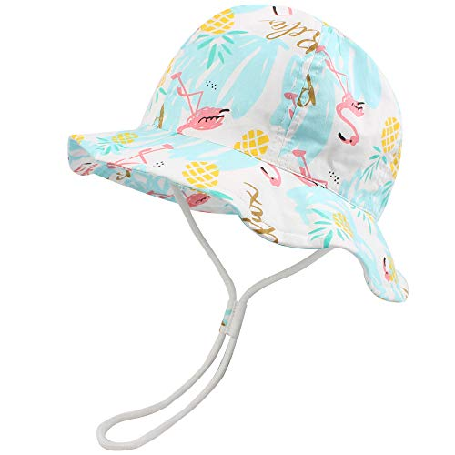 Baby Toddler Sun Protection Hat Cotton Boys Animal Bucket with Chin Strap Adjustable Wide Brim Caps (Flamingo, M1-2T)