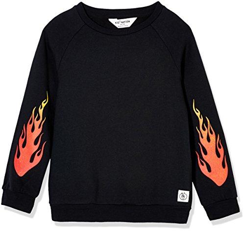 (Kid Nation Kid's Raglan Color Block Fleece Sweatshirt for Boys and Girls S Black)