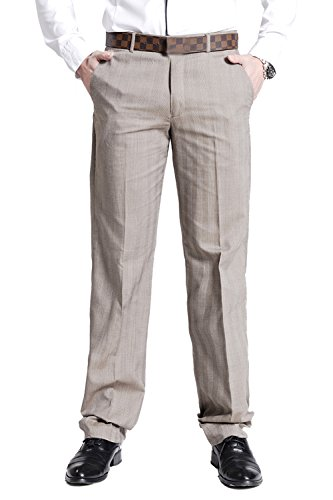 Men's Flat Front Suit Separate Pant Causal Textured-Pinstripe Trousers