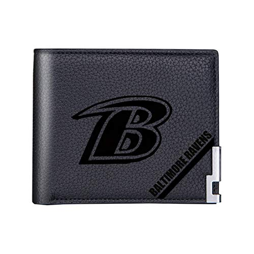 NFL Wallet Laser Carving Bifold Pocket Wallets ,Short Paragraph Fashion Ultra-Thin Soft Billfold for Men and Women with Money Clip Black