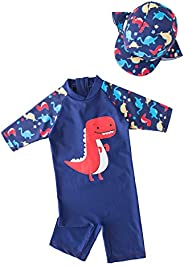 Baby Swimwear with Hat One Piece Swimsuit for Boys UPF 50+ Sun Protection
