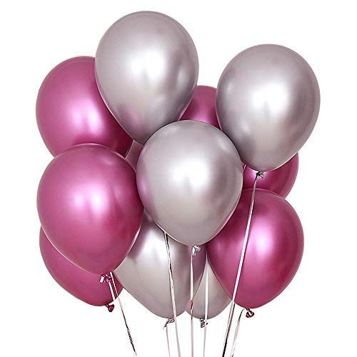 - Juland 50 PCS Metallic Party Balloons Glossy Metal Pearl Latex Balloons 12'' Thick Pearly Chrome Alloy Inflatable Air Balloons for Birthdays, Bridal Shower -Light Rose and Silver