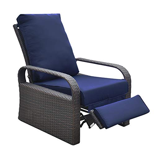 "Outdoor Wicker Recliner Chair with 5.12"" thickness Cushions, Automatic Adjustable Rattan Patio Chaise Lounge Chairs, Aluminum Frame, UV Resistant and Rustless (Brown Wicker + Navy Blue Cushion) For Sale"