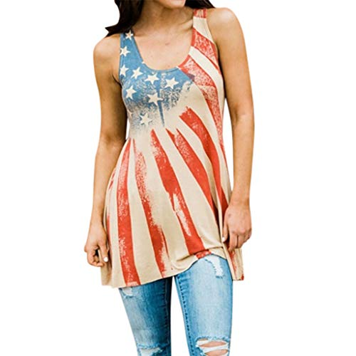 (Toponly Fourth of July Sleeveless Star Stripe American Flag Printed Tank Tops T Shirt Women Sports Independence Day Tee Patriotic Blouse Tunic Asymmetric Hem )