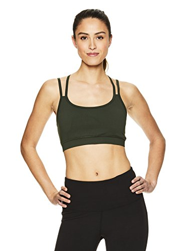 Gaiam Women's Strappy Wireless Sports Bra - Medium Impact Longline Racerback Workout & Yoga Bralette - Dufflebag, Medium