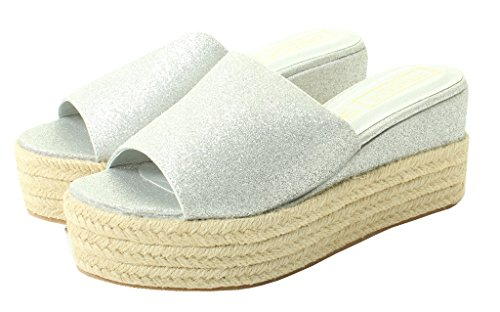 Tilly London Womens Ladies Vegan Flat High Wedge Espadrille Mules Sandals Slip On Platform Summer Sizes 3 4 5 6 7 8 Shoes Silver uiszP