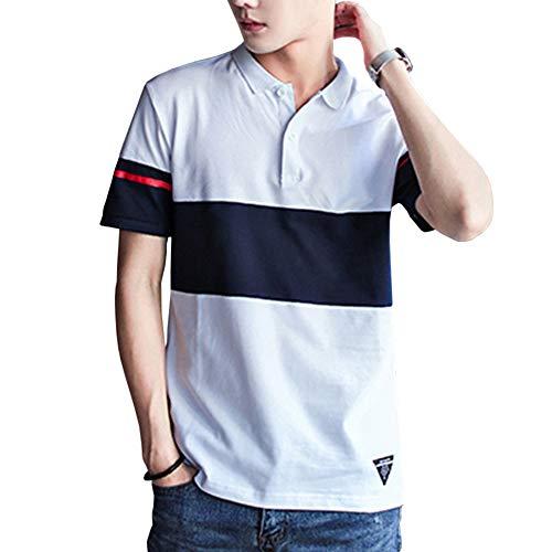 ポロシャツ トップス 半袖 メンズ ボーダー poloシャツ 吸汗速乾 カジュアル ゴルフ シャツ 快適 薄手 立っている襟 大きいサイズ 潮流