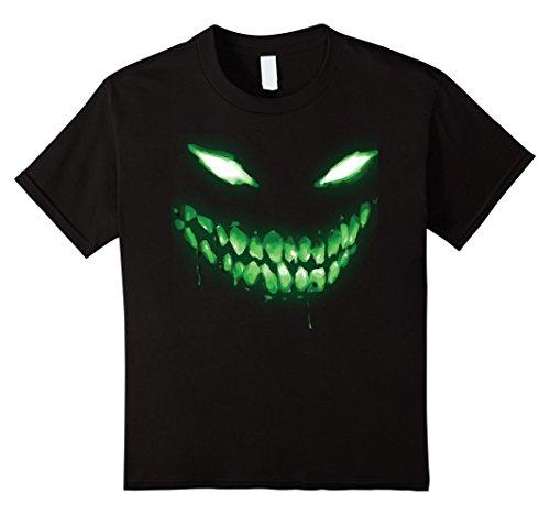 Kids Halloween Shirt Scary Face Halloween Dark Green Glow Shirt 12 Black