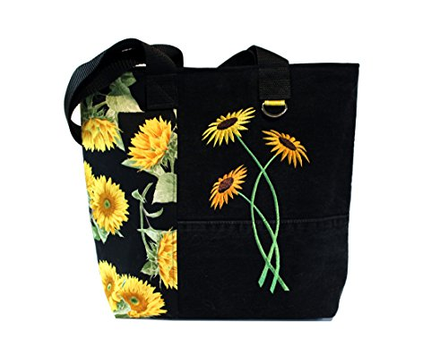 Tote Bag- Sunflowers- A recycled denim, embroidered, lined totebag. Eco-Friendly handbags.
