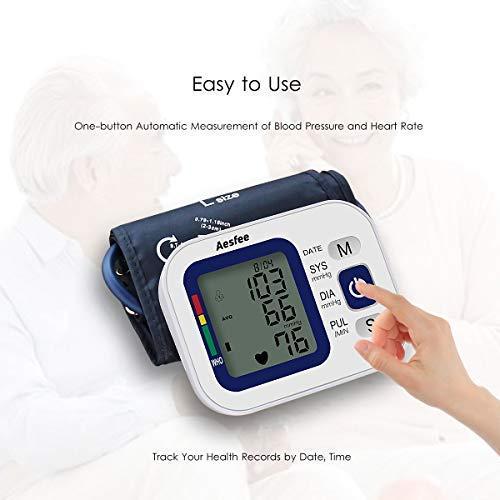 Monitor de presión arterial con brazo superior recargable por USB, medidor automático digital de presión arterial y pulso de ritmo cardíaco con puño de gran ...
