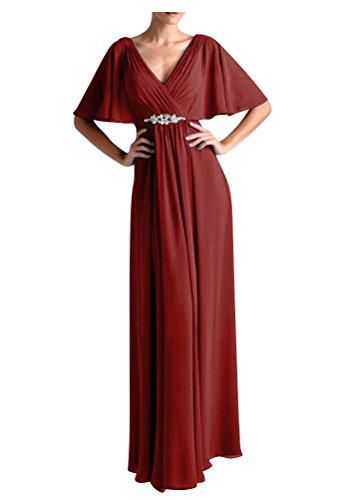 WeiYin Women's Chiffon Flutter Sleeve Long Evening Dress Mother of the Bride Dresses Burgundy US 8