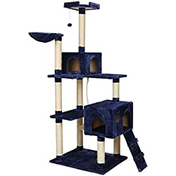Luxury Blue Cat Toys Cat Climbing Tree Cat Fun Scratching Solid Wood Pet Kitten Climb Frame Hanging Ball (blue)