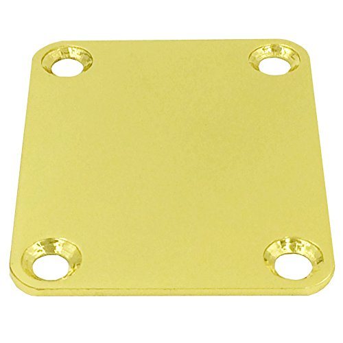 Greenten Gold 4 Bolt Neck Plate Plain with Screws for FD Strat Tele Basses Replacement