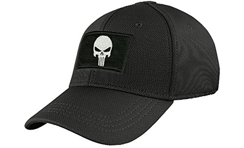 Condor Fitted Tactical Cap Bundle (Punisher/DTOM Patches) - Black L/XL