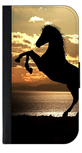 Black Horse Silhouette Sunset - Wallet Case for The Samsung Galaxy S5- with a Flap Cover and Magnetic Closing Flap-PU Leather and Suede