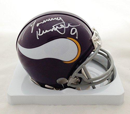 Tommy Kramer Minnesota Vikings Autographed/Hand Signed Throwback Mini Helmet COA (Signed Helmet) - Fran Tarkenton Throwback Helmet