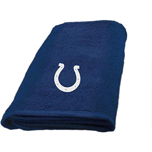 1 Piece NFL Colts Hand Towel 26 X 15 Inches, Football Themed Applique Sports Patterned, Team Logo Fan Merchandise Athletic Spirit, Blue, White, Polyester ()