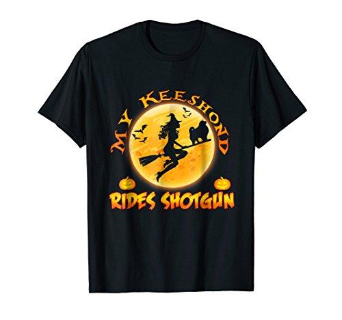 My Keeshond Rides Shotgun Halloween Dog T-Shirt]()