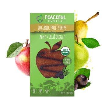 Cheap Peaceful Fruits Organic Fruit Strips Apple+Acai (12pk) – All Natural, Vegan-Friendly, Gluten-Free, GMO-Free, Featured on Shark Tank