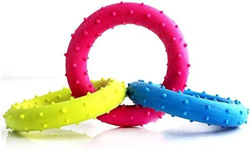 犬のホリデーギフト おもちゃの犬、ゴム咬傷耐性犬のおもちゃ、屋内および屋外用の3色リング犬のおもちゃ トラブルと喜びを減らす (Color : Random, Size : 18.5cm)
