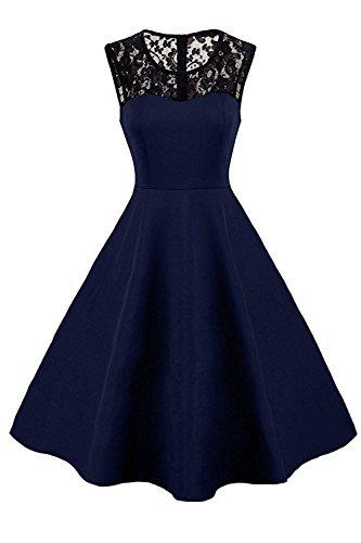 par Impression Soire MisShow Bleu Femme Anne pour avec Cocktail Elgante Florale Marine Swing Chic Jointif en Dentelle 50s Vintage Robe Coton Y4Pwqx4U