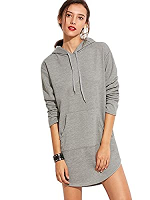 SweatyRocks Sweatshirt Dress Hoodie Pockets Grey Dress